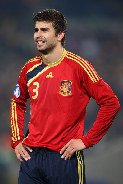 Gerard Pique Gerard Pique of Spain in action during the FIFA Confederations Cup match between Spain and South Africa at Free State Stadium on June 20, 2009 in Bloemfontein, South Africa.