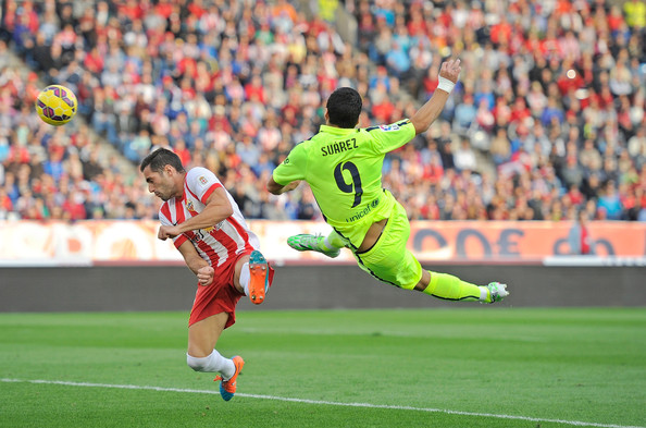 Luis Suarez of FC Barcelona has a shot at goal during the La Liga match between UD Almeria and FC Barcelona at estadio de los Juegos Mediterraneos on November 8, 2014 in Almeria, Spain.