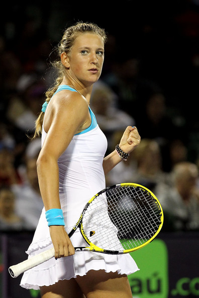 Victoria Azarenka Victoria Azarenka of Russia reacts after she won the second set against Dominika Cibulkova of Slovakia during the Sony Ericsson Open at Crandon Park Tennis Center on March 27, 2011 in Key Biscayne, Florida.