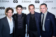 (L-R) Monty Lippman, Singer/Song Writer Nick Jonas, Charlie Walk, and Phily Mack arrive at Z Zegna & GQ Celebrate The New Z Zegna Collection Hosted By Nick Jonas at Philymack Studios on February 5, 2015 in West Hollywood, California.