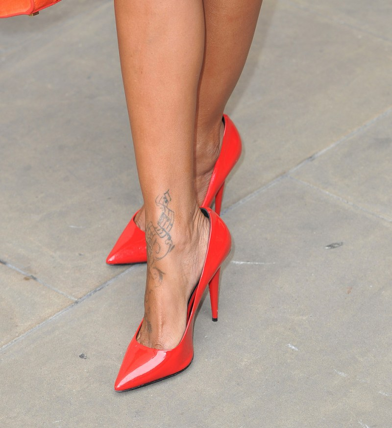 brandy in red pointed heels