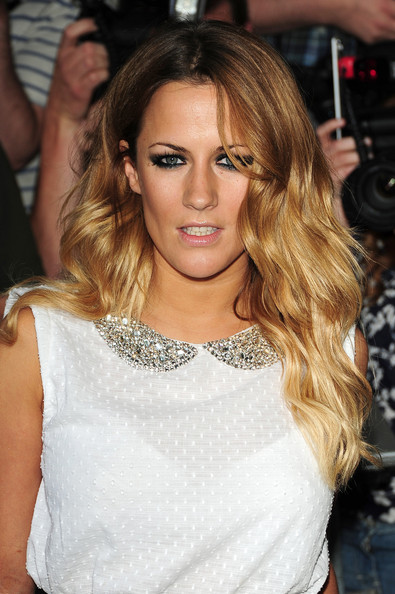 Caroline Flack Dons Bustier Top And Leopard Print Coat At