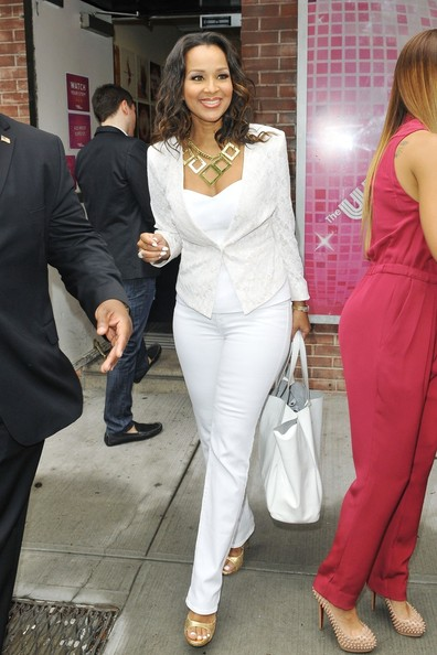 """Single Ladies""  actress LisaRaye McCoy  gives a wave and signs autographs outside of the ""Wendy Williams Show"" in New York City."