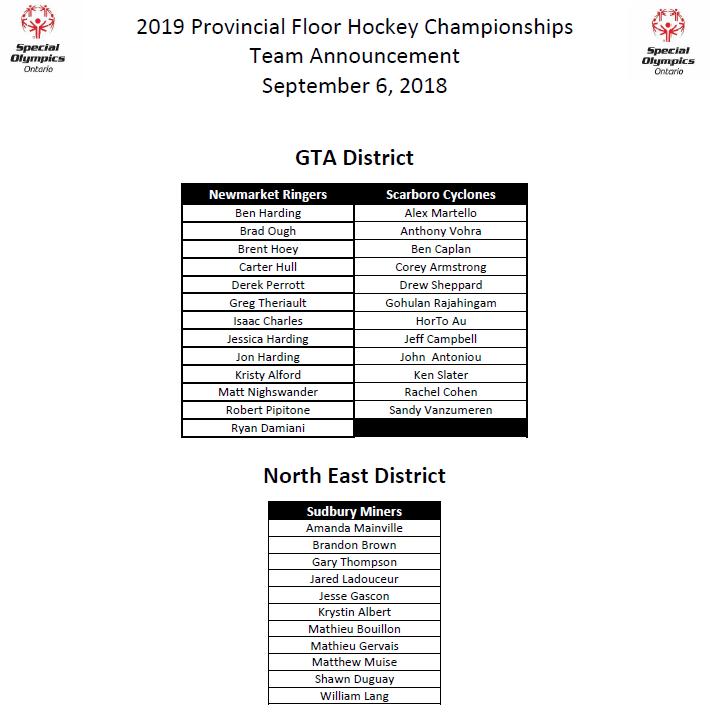 2019 Provincial Floor Hockey Championships Training Squad