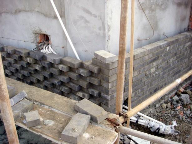 Brick work during construction