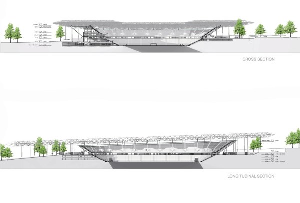 Bursa stadium cross section and longitudinal section