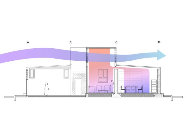 Sectional View of T-Wall House