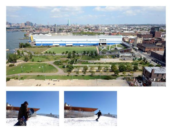 (top) Aerial view of park and building; (bottom) Active Design usage, snowboarding on roof 1/22/2014 - Photo Credit: (top) Malcolm Pinckney © 2013 New York City, NYC Parks ; (bottom) Jeremy Moseley