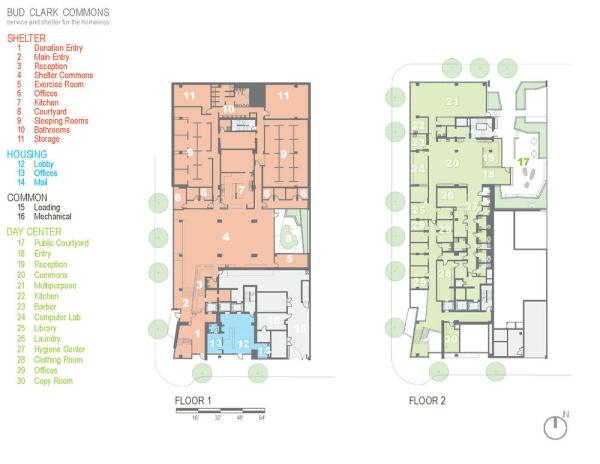 Floor plan for floors 1-2. - Photo Credit: Holst Architecture