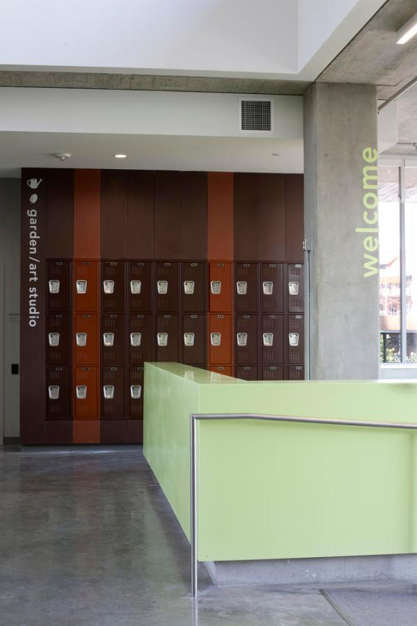 Homeless resource center's entrance, ramp, and lockers demonstrating adaptive reuse potential. - Photo Credit: Sally Schoolmaster