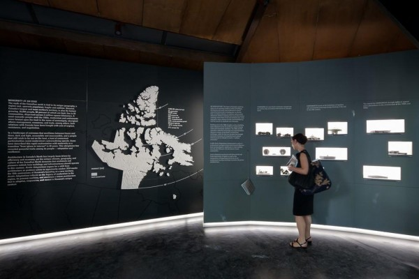 View of Corian Nunavut map, marking all 25 communities and carvings by Inuit artists, describing architecture's legacy in the territory over the past 100 years, Arctic Adaptations, 2014, Image Courtesy © LatreilleDelage Photography