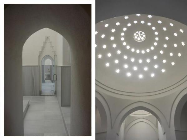 Corridor within the tepidarium and the dome of the caldarium after restoration, Image Courtesy © Ahmet Ertug