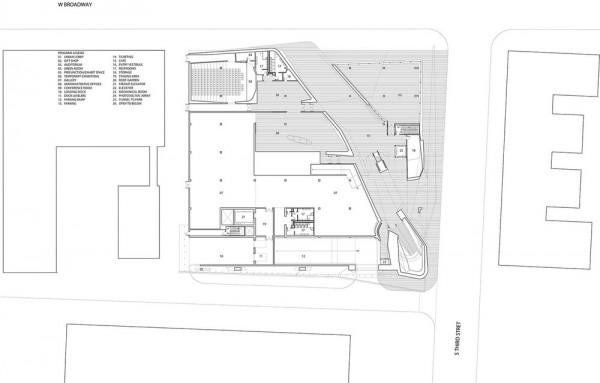 Plan level 00 - Urban Lobby, Gift Shop, Auditorium, Temporary Exhibitions, Image Courtesy © PLUS-SUM Studio