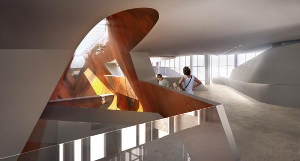 Escalator Landing Bridge at Cross Void, Image Courtesy © PLUS-SUM Studio