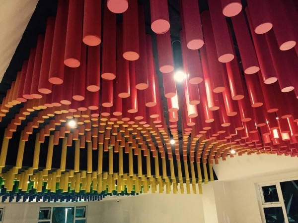 NTS Interiors cafeteria ceiling , Image Courtesy © Ravi Kanade