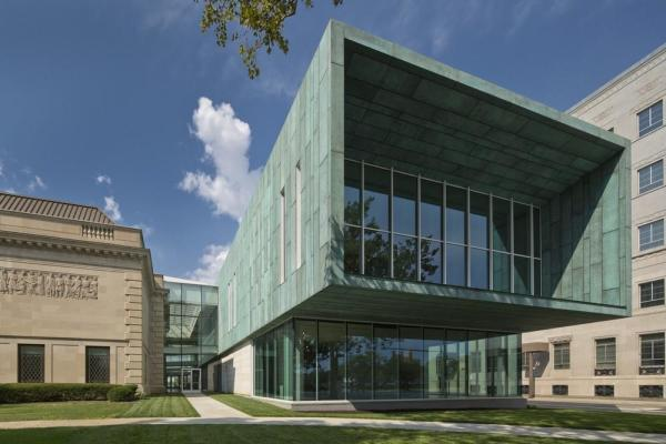 Columbus Museum of Art's new Margaret M. Walter Wing and the glass atrium that joins the new wing to the historic Richard M. and Elizabeth M. Ross Building, Image Courtesy © Brad Feinknopf