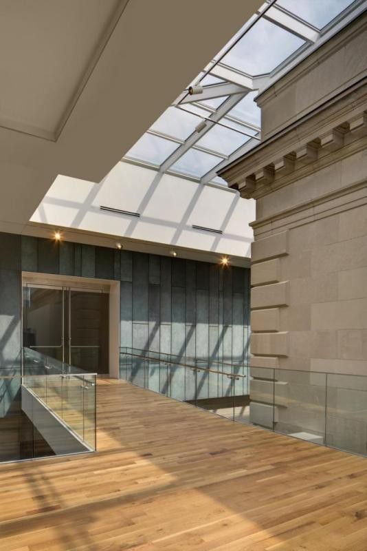 The bridge leading into the upper level galleries of the new Margaret M. Walter Wing, Image Courtesy © Brad Feinknopf
