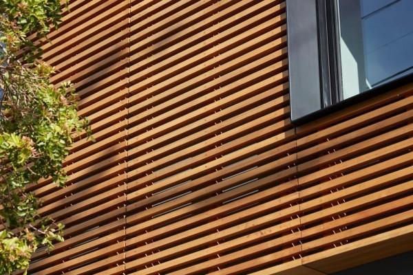 Refined wood slats reinterpret the adjacent trees , Image Courtesy © Bruce Damonte