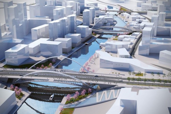 Artistic impression of an aerial view of the canal, Image Courtesy © Santiago Calatrava LLC