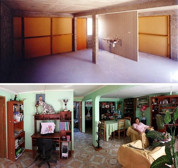 Quinta Monroy Housing, 2004, Iquique, Chile. Top photo by Ludovic Dusuzean. Bottom photo by Tadeuz Jalocha.