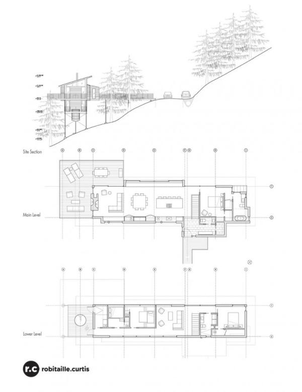 Section and Floor Plans, Image Courtesy © RobitailleCurtis