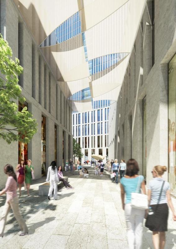 Shopping lane with natural stone façade, Image Courtesy © Gärtner Christ