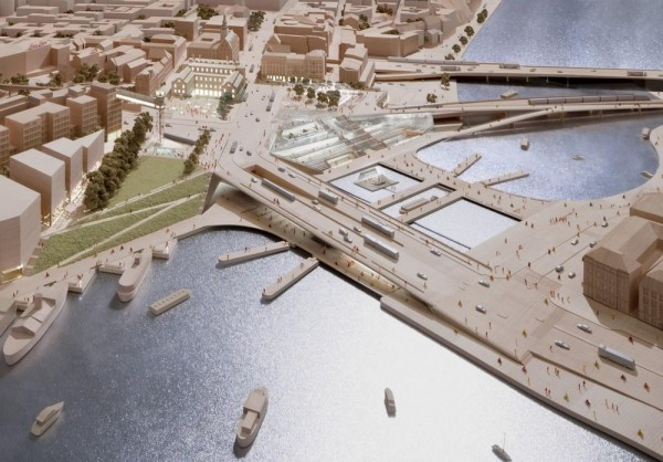 Public exhibition model of the New Slussen design, Image Courtesy © Richard Davies