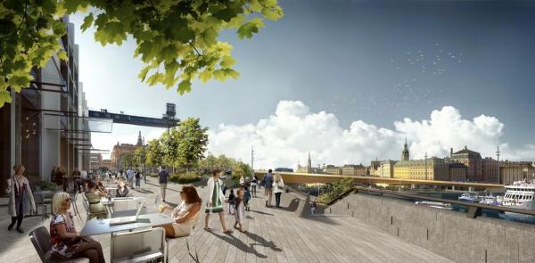 View from the new restaurants and cafes of Sodermalm towards Gamla Stan with the new bridge connecting the two urban centres, Image Courtesy © Foster + Partners