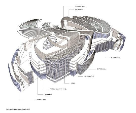 Exploded building envelope,Image Courtesy © Aedas
