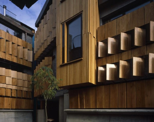 Courtyard detail of shutters partially open, Image Courtesy © Hélène Binet