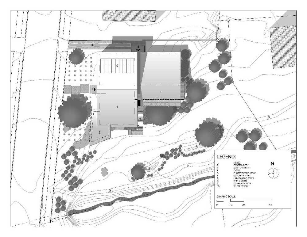 The rainshine house in decatur georgia by robert m cain for Site plan drawing online