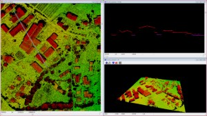 Pixel-wise data extracted with LPS eATE. Point cloud, 3D, and cross sectional views of the surface are shown in Fugro Viewer.