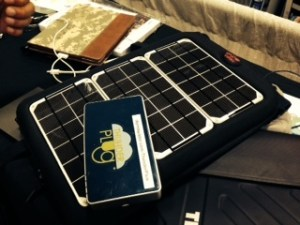 iForm Builder with small server device and  solar cell backpack