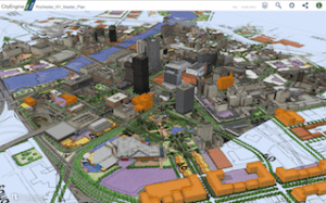 Bergman Associates used CityEngine to model the visual and economic impact of the City of Rochester, New York Master Plan. Web scene image courtesy of Bergman Associates