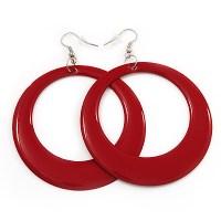 Red Hoop Earrings - avalaya.com