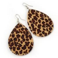 Large Resin 'Leopard Print' Teardrop Earrings In Silver ...