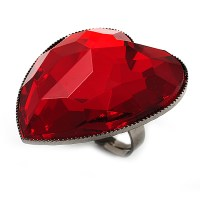 Large Red Acrylic Heart Cocktail Ring (Silver Tone ...