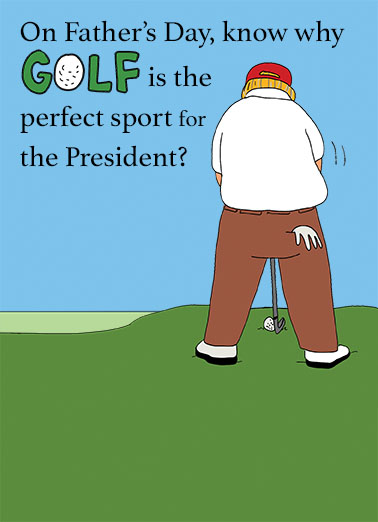 """Funny Father's Day Card """"President Father's Day Golf"""