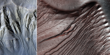 Figure 1: Examples of Martian Gullies. Until recently they were thought to have been sculpted by flowing liquid water, but they may result from defrosting dry ice processes at the end of winter. On the right, gullies on dunes in Russel Crater (54.3°S-12.9°E) are partially covered by CO2 ice. On the left, sinous gullies in a Crater in Newton Basin (41°S-202°E)