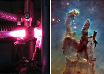 Ultraviolet processing of pre-cometary ices (left) reproduces the natural evolution of interstellar ices observed in molecular clouds (right, the 'Pillars of Creation'), leading to the formation of sugar molecules.