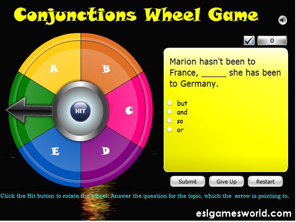 Conjunctions Wheel of Fortune Game  EnglishGuideorg