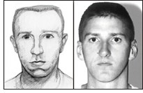 Sketch and photograph of Timothy McVeigh