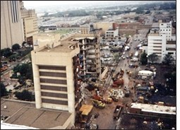 Alfred P. Murrah Federal Building in downtown Oklahoma City after the bomb exploded