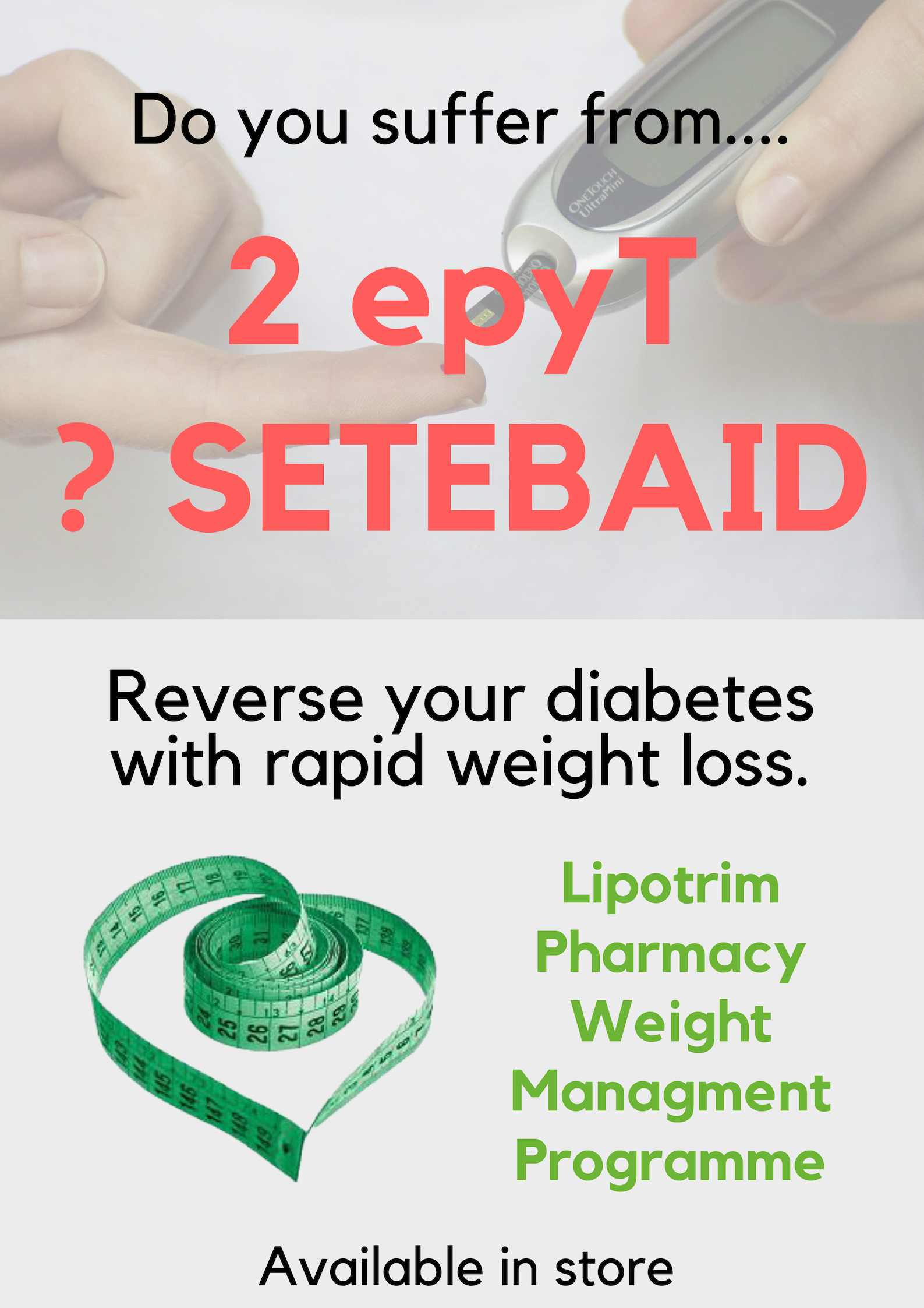 Reverse Type 2 diabetes - Lipotrim pharmacy poster