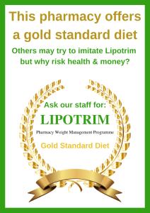 Lipotrim poster gold standard pharmacy poster