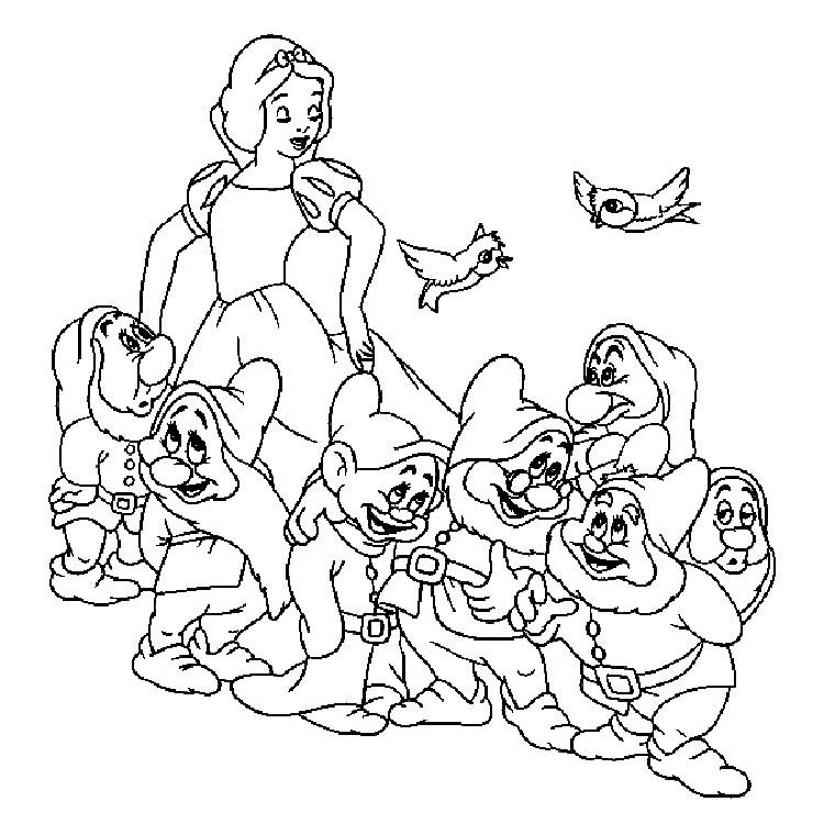 Coloriages à imprimer : Blanche neige et les sept nains
