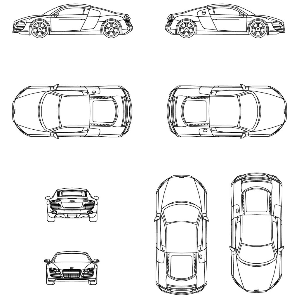 Dessin Voiture Audi R8 Coloriage