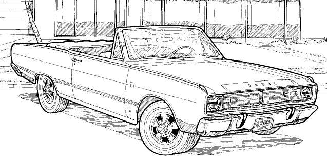 68 Dodge Charger Coloring Page Coloring Pages
