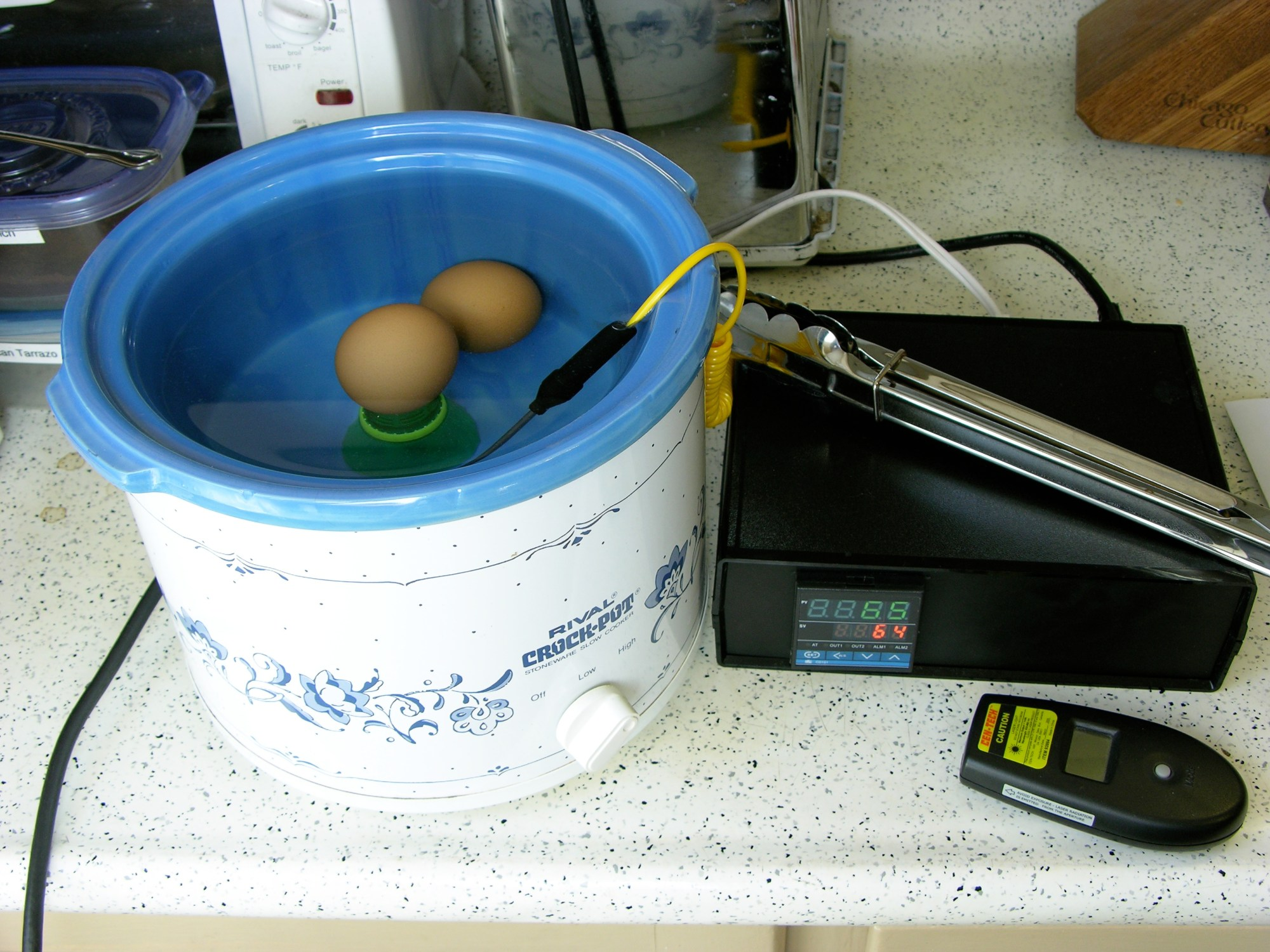 hight resolution of pid controlled crockpot cooking two eggs