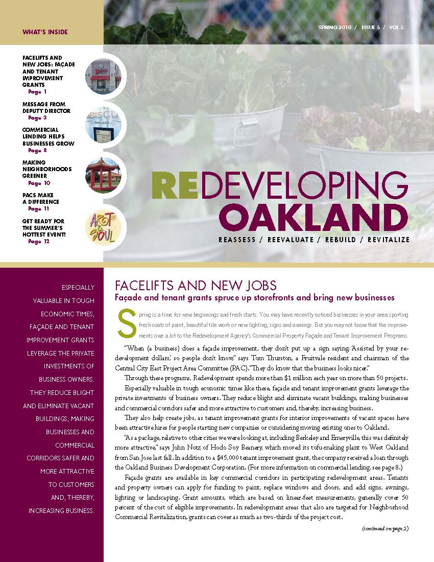 Redevelopment Newsletter Page  Successor Agency  City of